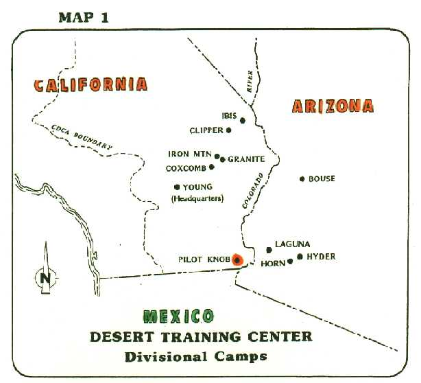 Map of the Desert Training Center, California-Arizona Maneuver Area